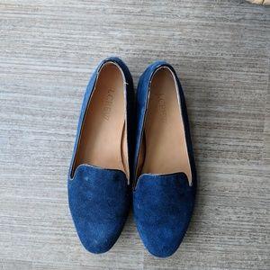 Blue suede jcrew loafers sz 6.5